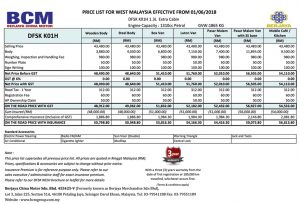 Price List - DFSK K01H 1.3L in Malaysia