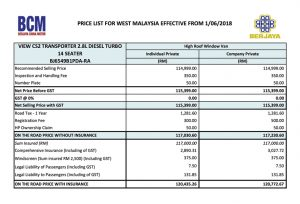 Price List - Foton view cs2 in Malaysia